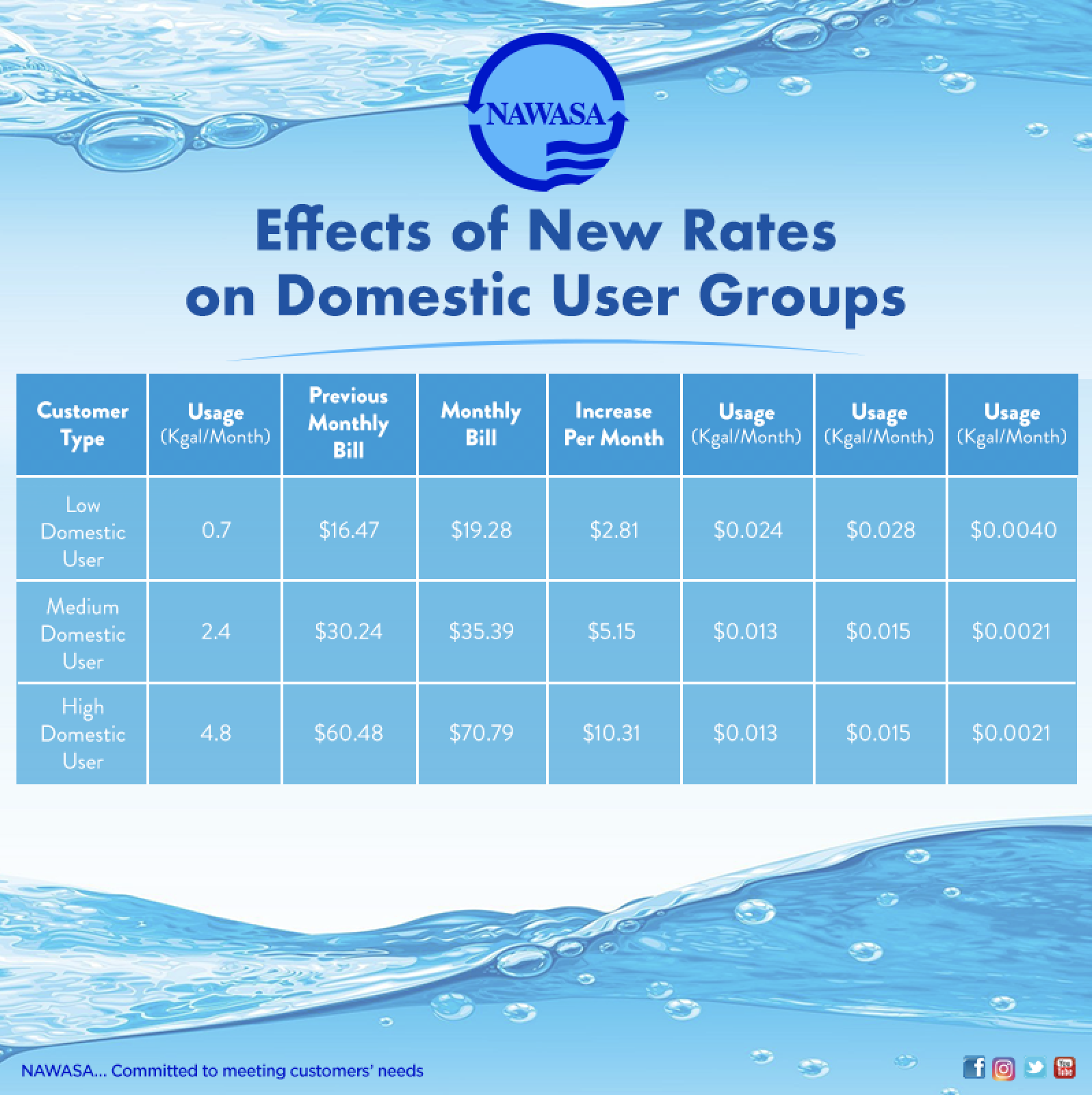 Effects of New Rates on Domestic Consumers